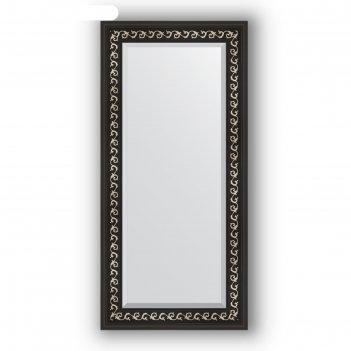 Зеркало с фацетом в багетной раме - черный ардеко 81 мм, 55 х 115 см, evof