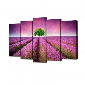 Модульная картина на подрамнике фиолетовое поле, 2 — 63x25, 2 — 71x25, 1 —
