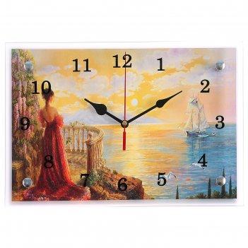 Часы настенные, серия: люди, девушка и корабль, 20х30 см