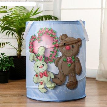Корзинка для игрушек мишка и зайка 35х35х45 см