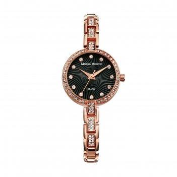Часы наручные женские каприз, чёрный циферблат, золотистый браслет, 577-8-