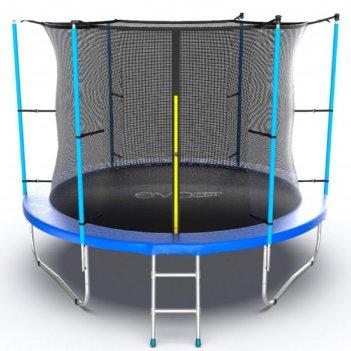Батут с внутренней сеткой и лестницей, диаметр 10ft (синий) evo jump inter