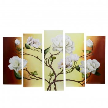 Модульная картина на подрамнике цветы на ветках
