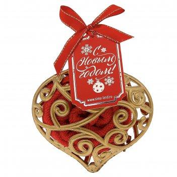 Полотенце сувенирное collorista в новогодней игрушке, красное 25х25 см, ми