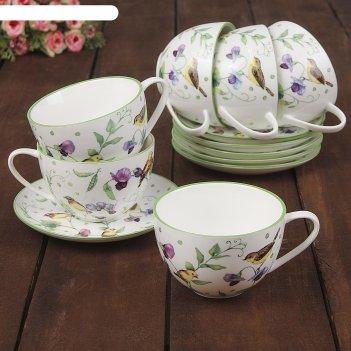 Сервиз чайный «зелёный сад», 12 предметов: 6 чашек 220 мл, 6 блюдец 13 см