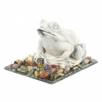 Сувенир жаба змеевик мрамолит самоцветы 105х80х70 мм 350 гр.
