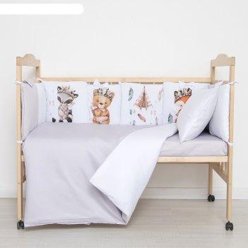 Комплект в кроватку охотники (6 предметов), сатин, хл100%