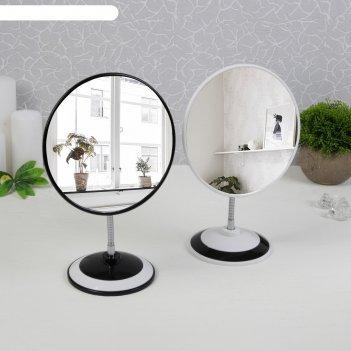 Зеркало на гибкой ножке, d зеркальной поверхности — 16,5 см, цвет чёрный/б