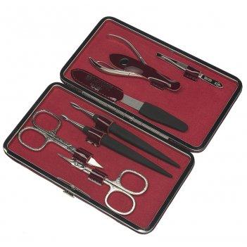 Маникюрный набор dewal, 7 предметов. футляр: натур.кожа, цвет бордовый.