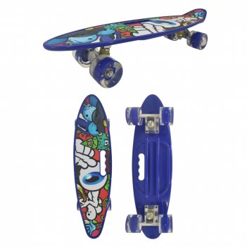 Скейт navigator пласт. кол.pu со светом 60х45мм, алюм.траки, ручка для пер