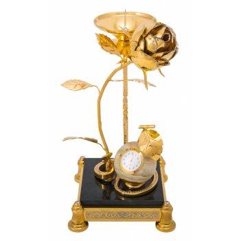 Сувенир роза (подсвечник, часы) златоуст