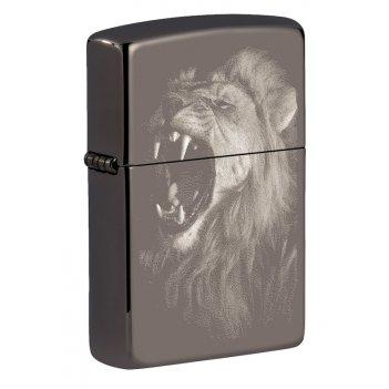 Зажигалка zippo lion design с покрытием black ice®, латунь/сталь, чёрная,