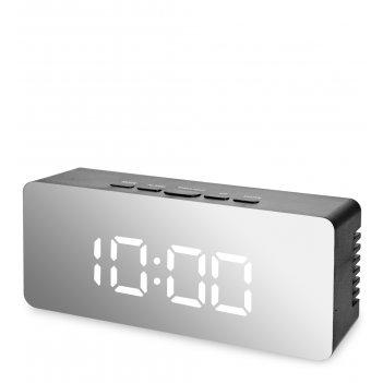 Ял-07-23/6 часы электронные мал. зеркальные (черные с белым циферблатом)