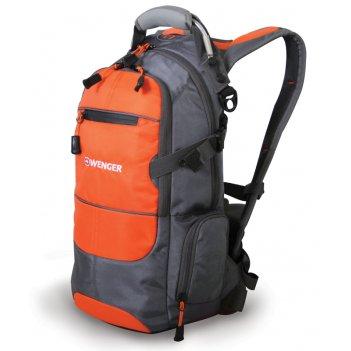 Рюкзак wenger, серый/оранжевый/серебристый, полиэстер, со светоотражающими