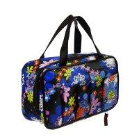 Косметичка-сумочка на молнии цветы, 1 отдел, 5 наружных карманов, чёрная