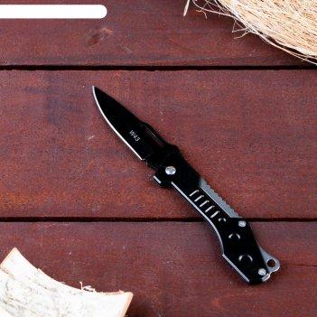 Нож перочинный, лезвие 7,4 см с отверстием, рукоять черный металл, без фик