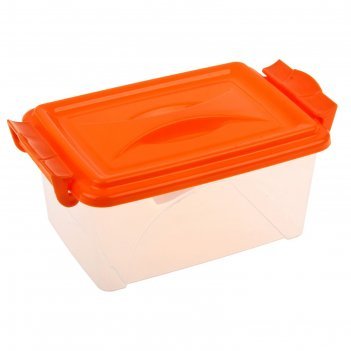 Контейнер пищевой 2,5 л с крышкой и ручками, прямоугольный, цвет микс