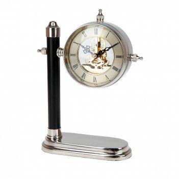 Часы настольные (часы-d=11см. батарейка-1ааа) 19*9*25см. (мета