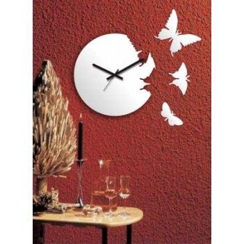 Часы порхающие бабочки белые  cl104б 28х28см