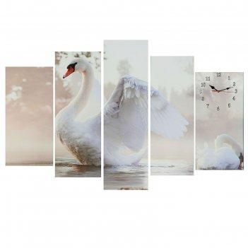 Часы настенные модульные «белый лебедь», 80 x 140 см