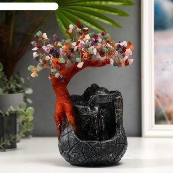 Фонтан настольный от сети, подсветка дерево с самоцветами и водопад 180 ка
