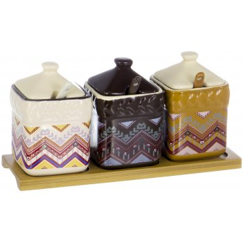 Набор банок с ложками на подставке кетцаль «ромбы» 280 мл, 6 предметов