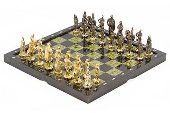 Шахматы русские, фигуры - бронза, доска - змеевик, 36х36см