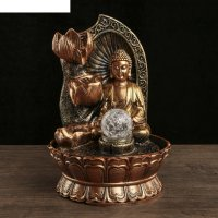 Фонтан настольный полистоун 220в будда у грота с лотосами 30х21х21 см