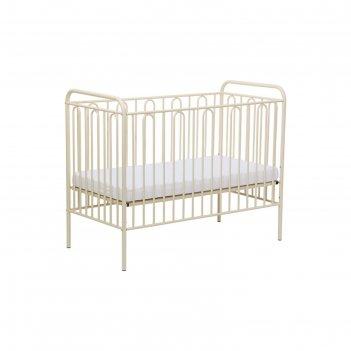 Детская кроватка polini kids vintage 110 металлическая, цвет кремовый