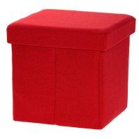 Пуф-куб с нишей для хранения, 38х38х38 меб.ткань цв.красный микс