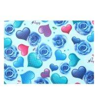 Бумага для творчества цветные сердца и синие розы а4 плотность 80 гр