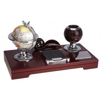 Набор настольный 4в1: глобус, бокс для бумаги, визитница, подставка