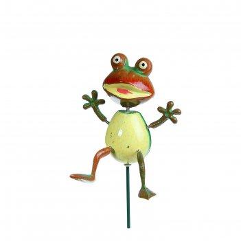 Декор садовый лягушка, штекер 40 см, цвета микс