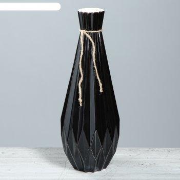 Ваза модерн большая, чёрный глянец