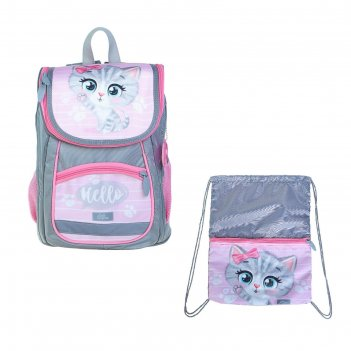 Ранец стандарт сalligrata, 36 х 26 х 16, с мешком, «котик», серый/розовый