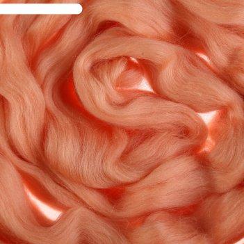 Шерсть для валяния 100% полутонкая шерсть 50 г (037, персик)