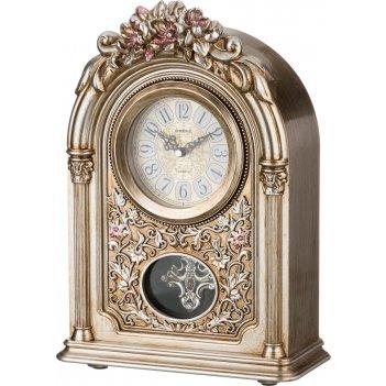 Часы настольные кварцевые с маятником золотые цветы 25,5*11,5*36,5 см. диа