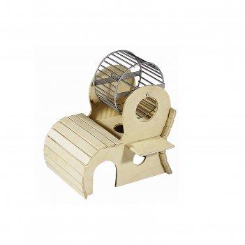 Домик для грызунов 2х-этажный с колесом 9 см сверху, 17 х 13 х 17,5 см, фа