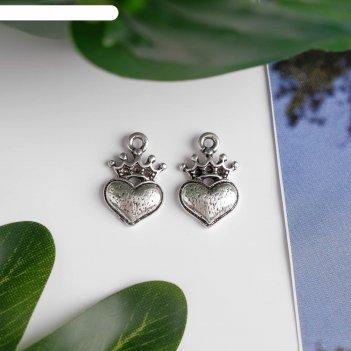 Декор металл для творчества сердце с короной серебро (в72286) 1,6х1 см