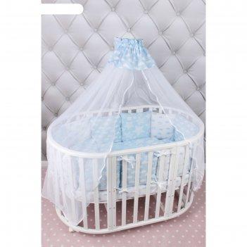 Комплект в кроватку «воздушный», 19 предметов, бязь, голубой