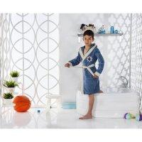 Халат детский с капюшоном snop, 12-13 лет, цвет парламент, махра/велюр