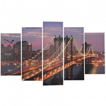 Часы настенные модульные «манхэттенский мост ночью», 80 x 140 см