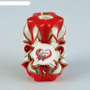 Свеча резная 10-11 см love красная с зеленым и белым