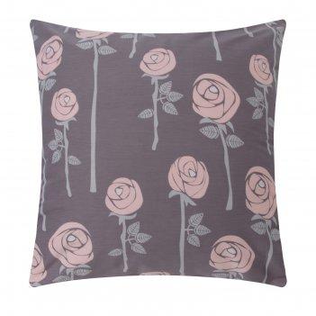 Наволочка lovelife «розы», цвет серый, 70х70 см,