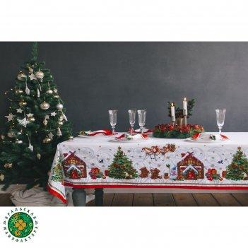 Столовый набор этель новогодняя сказка скатерть 220х150 см, салфетки 40х40