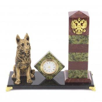 Часы пограничный столб лемезит змеевик мрамолит 195х85х175 мм 1350 гр.
