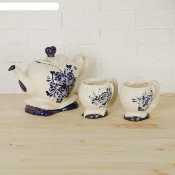 Набор чайный сердце чайник+2кружки гжель