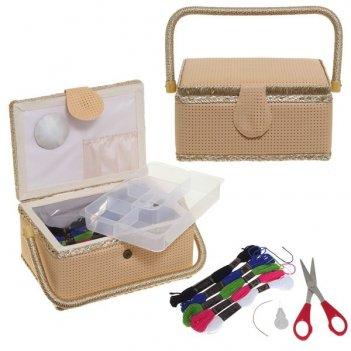Шкатулка для рукоделия (с подносом и набором для шитья), l24 w17,5 h15см