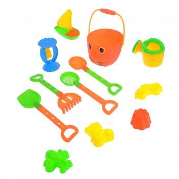 Песочный набор улыбка, 12 предметов, микс