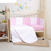 Комплект в кроватку 6 пр. кубики для девочки, бязь, хл100 120 гм
